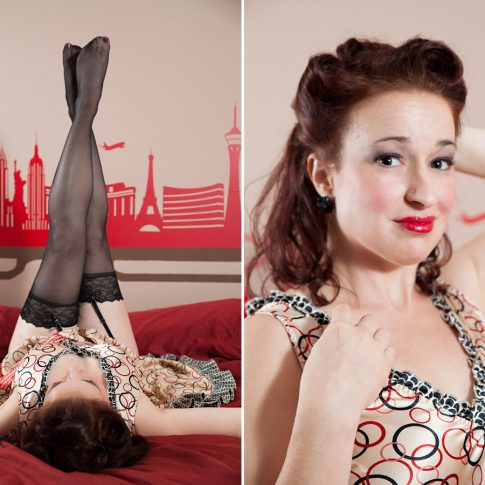 woman posing for a pinup themed shoot