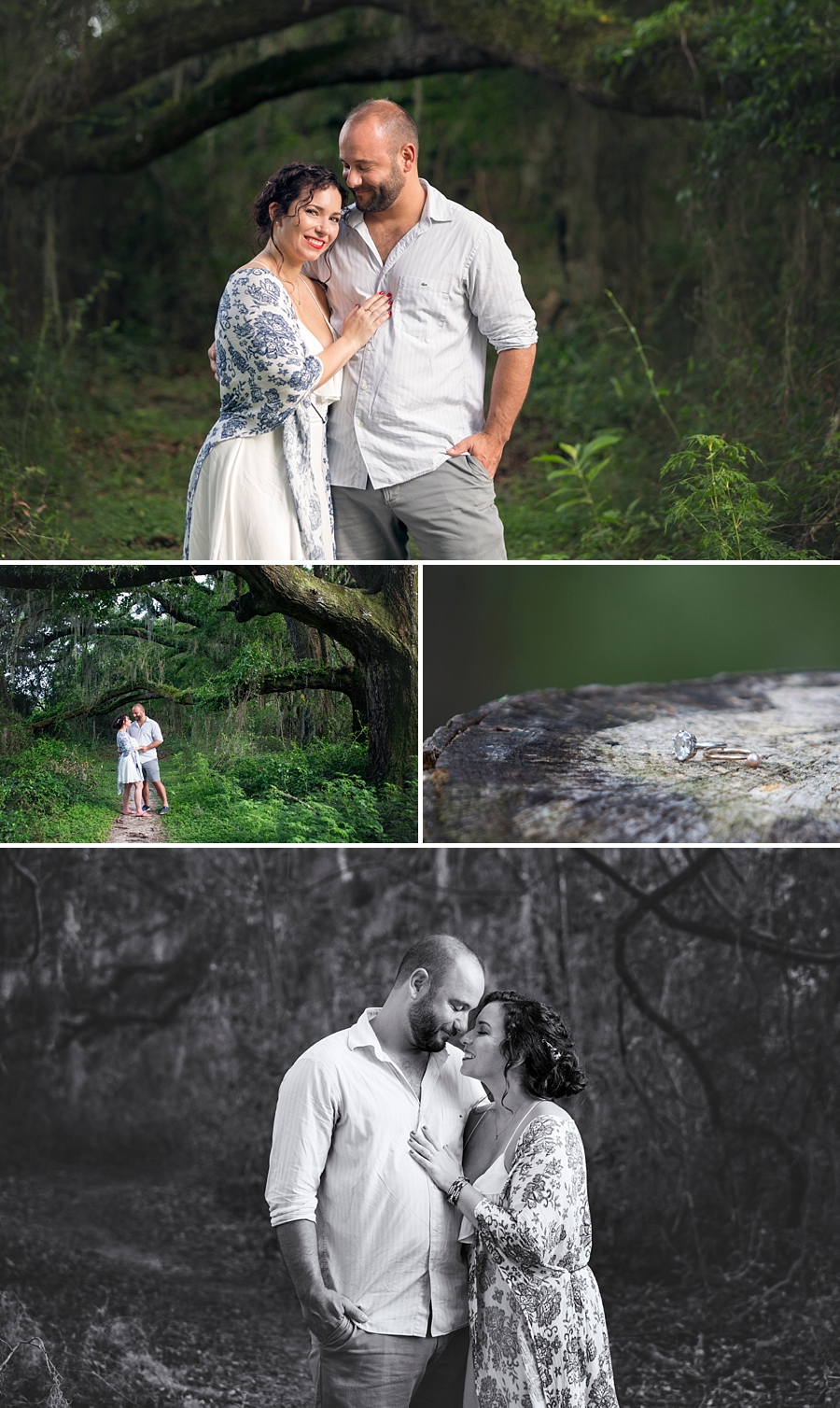 engagement photos with couple in woods