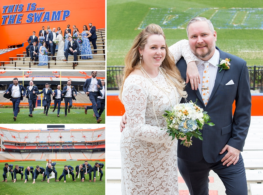 bride and groom at the UF stadium