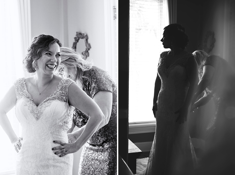 black and white images of the bride getting ready
