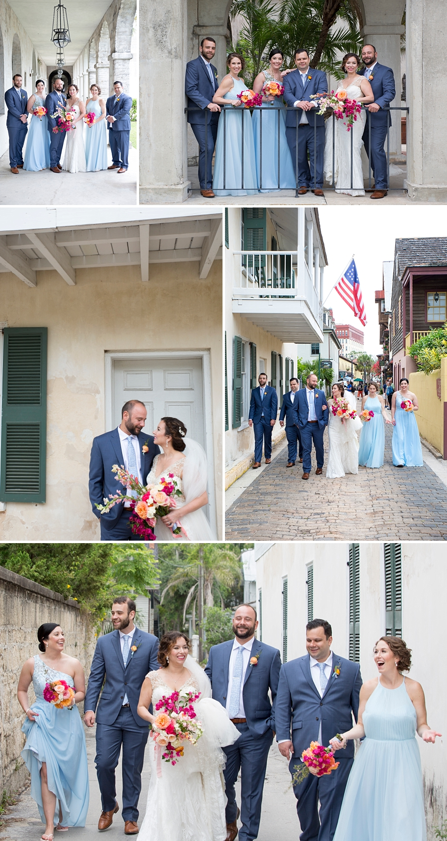 bridal party in downtown st. augustine