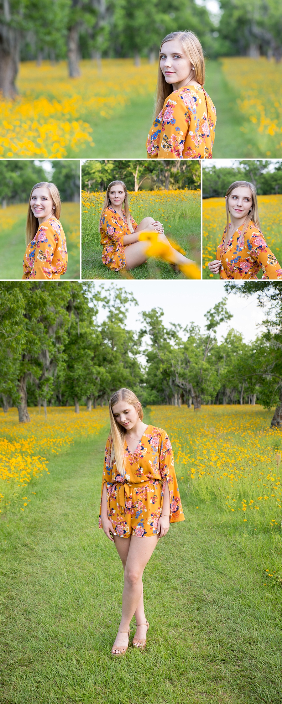 senior session in wild flowers