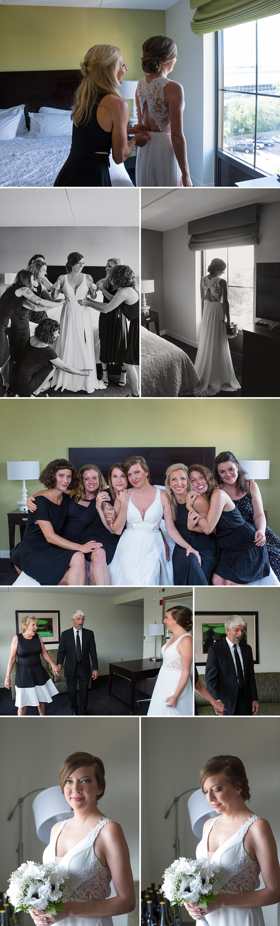 bride with bridesmaids and parents