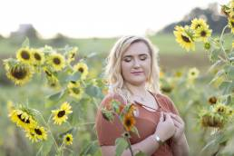 high school senior in sunflowers