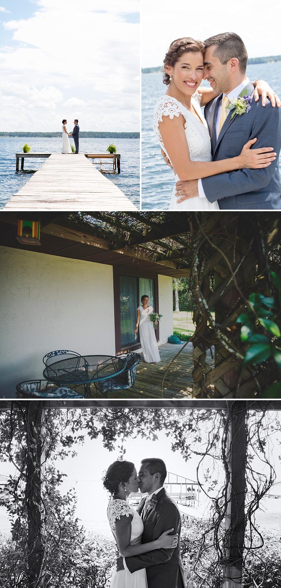 wedding couple on lake