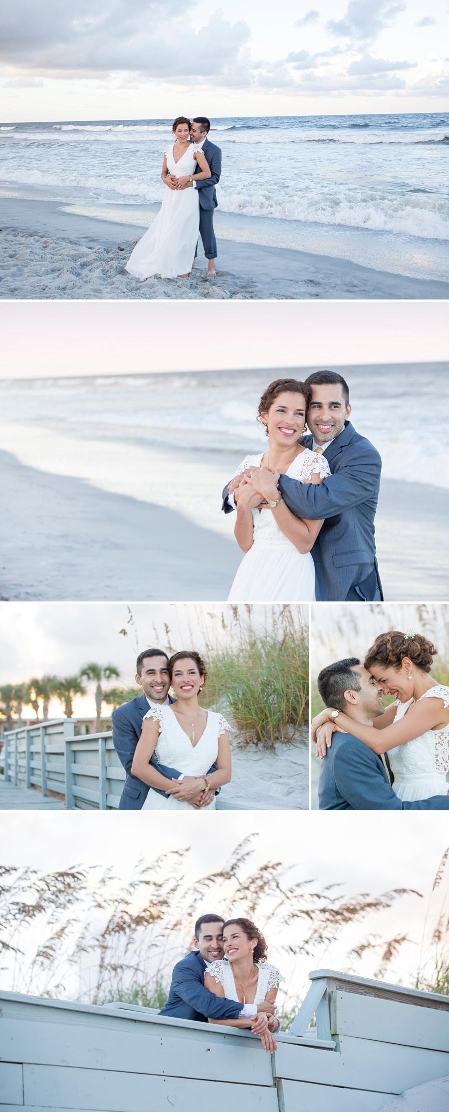 wedding beach photos in the sunset