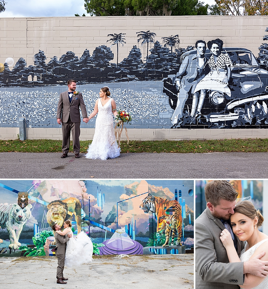 Gainesville murals with wedding couple