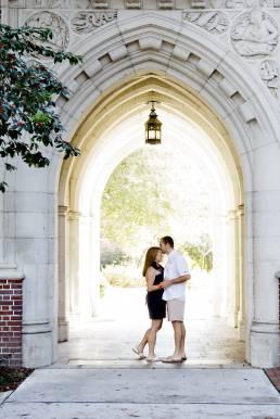 engaged couple on UF campus