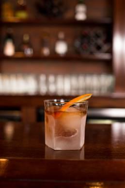 close up of cocktail at bar