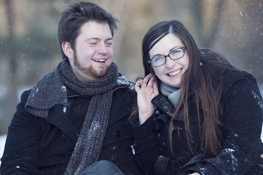 couple in snowy park