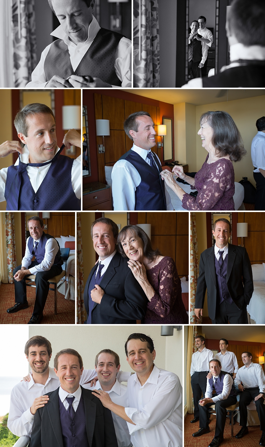Images of the groom getting ready