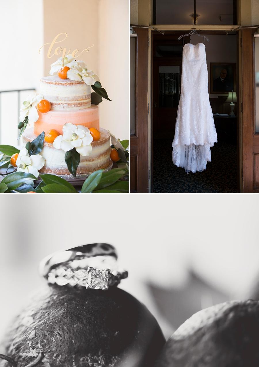 wedding cake, dress and rings