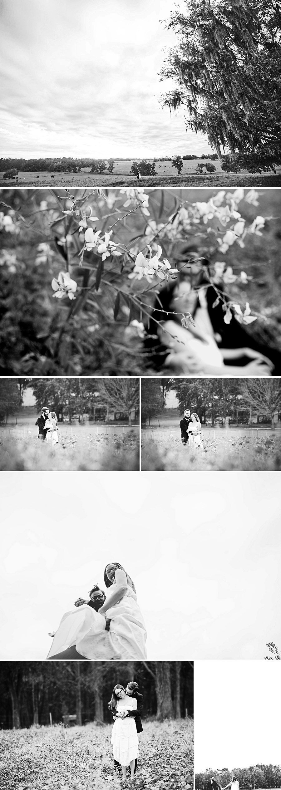 couple in fields and flowers, black and white landscapes