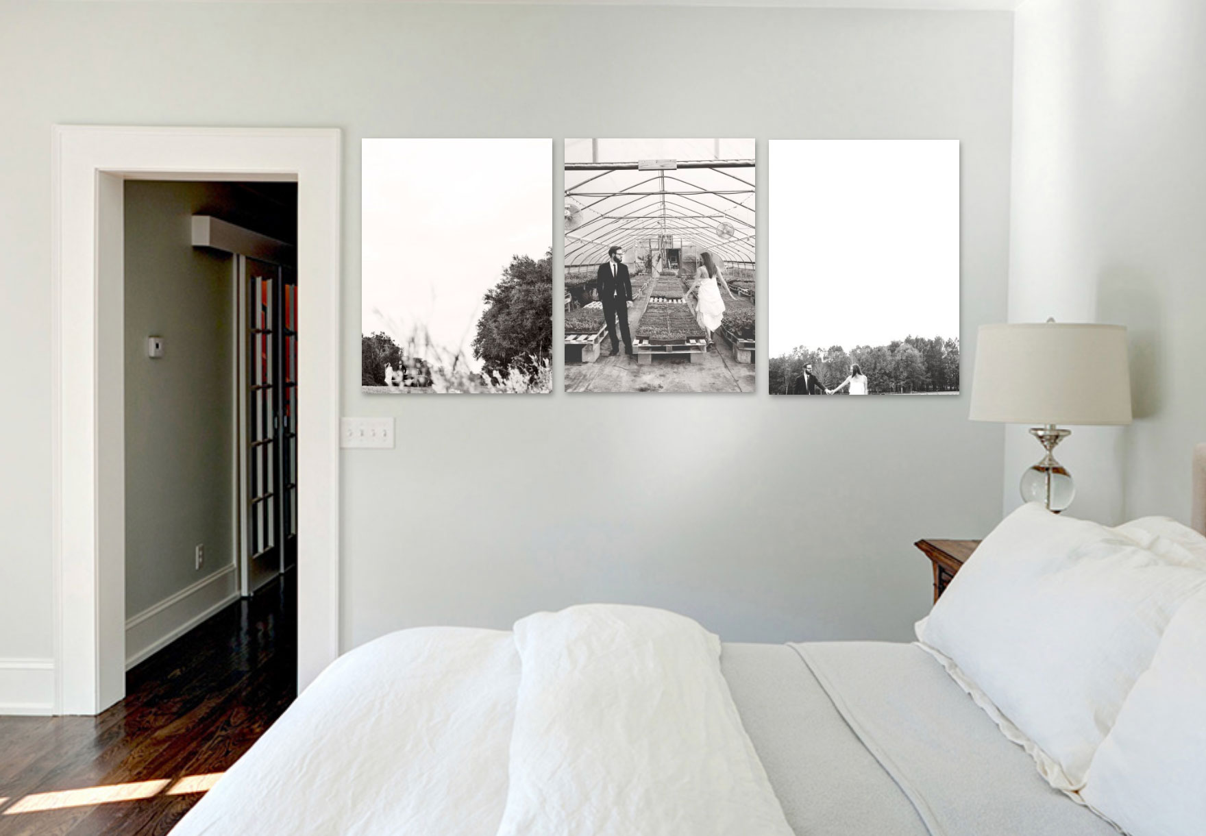 mock up of 30x40 prints in bedroom