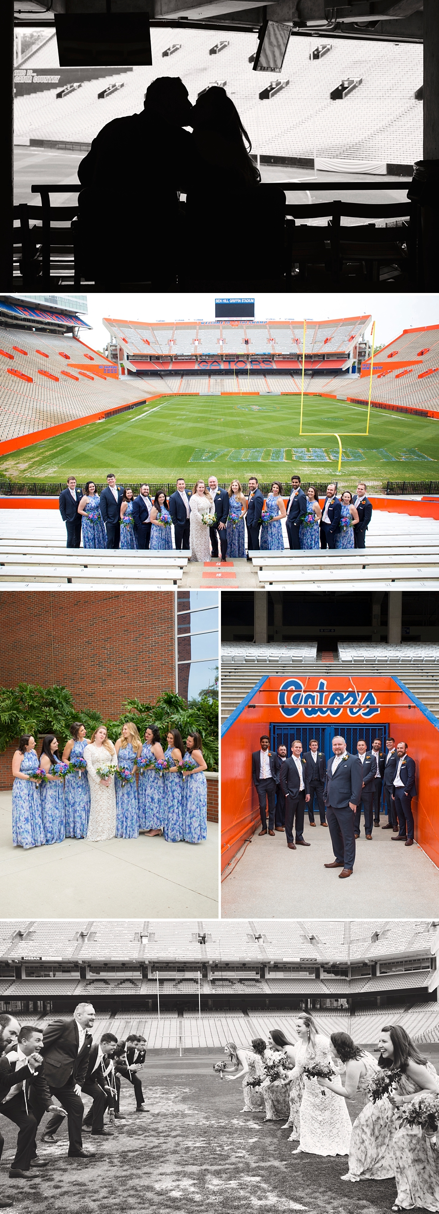 bridal party at the stadium