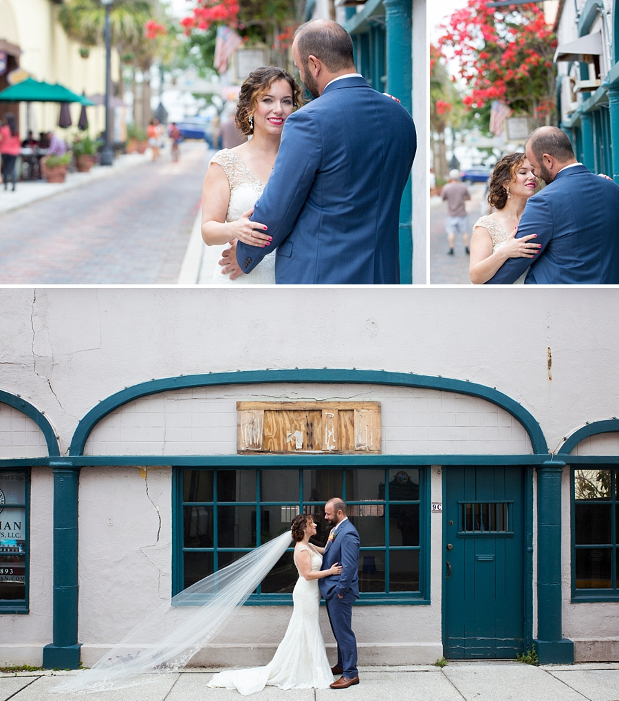 bride and groom in downtown st. augustine