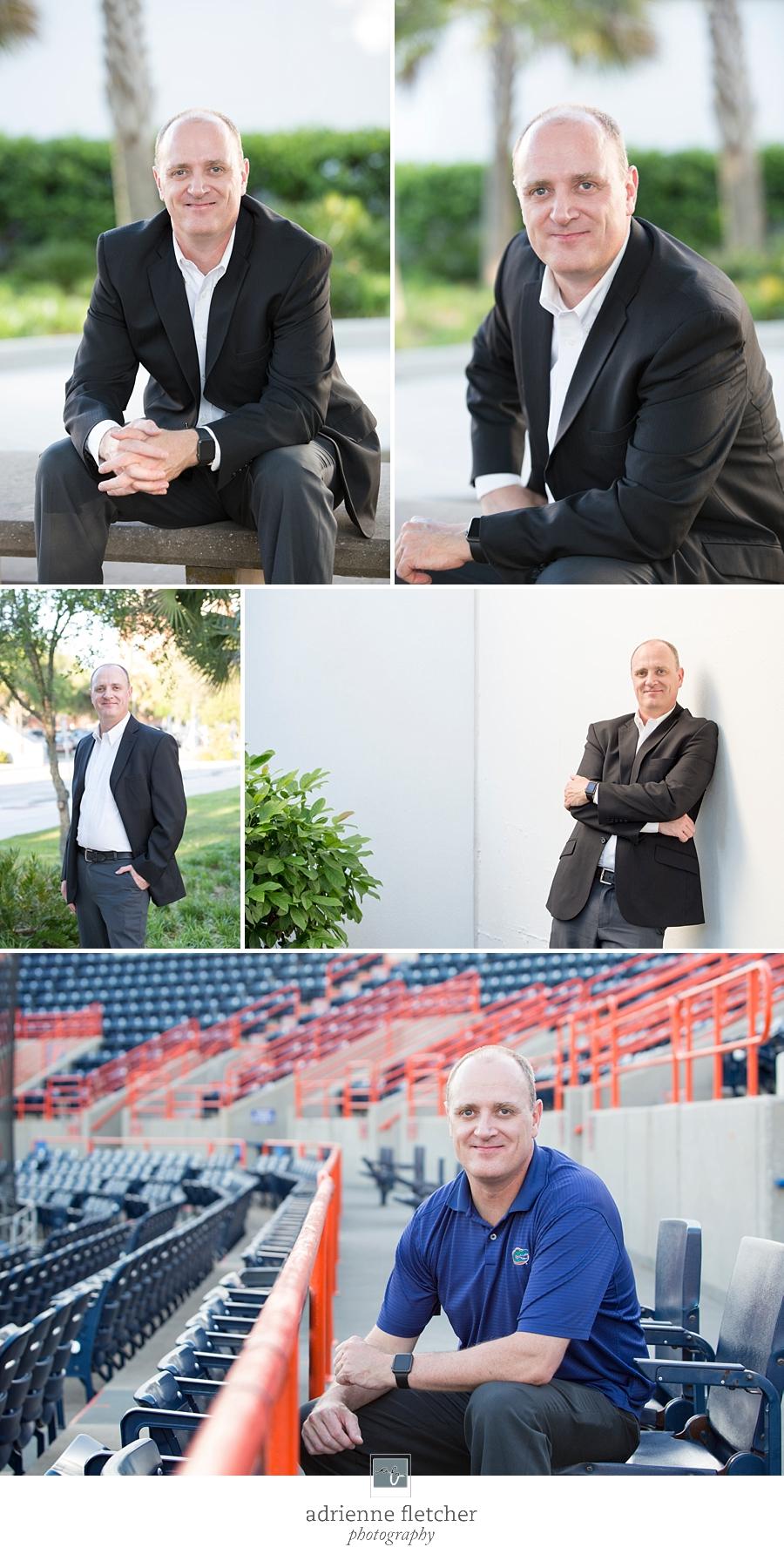 professional headshots of main on UF campus