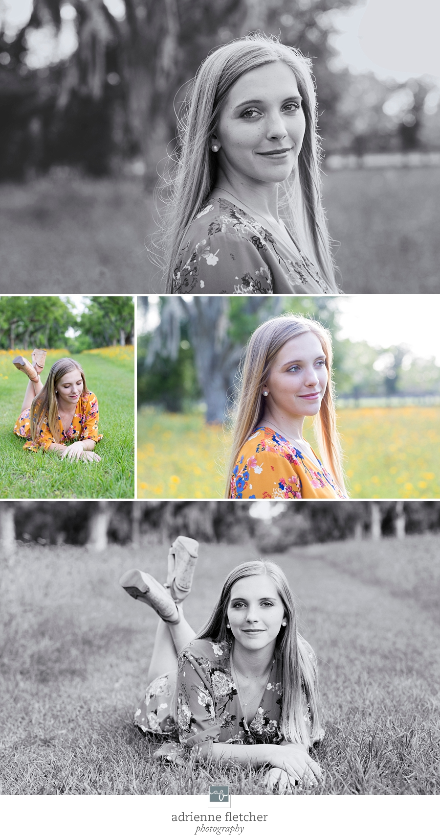 senior session in wild flowers