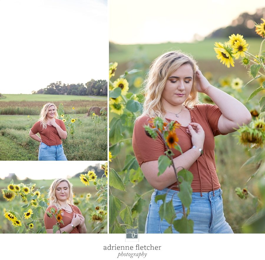 santa fe high school senior in sunflowers