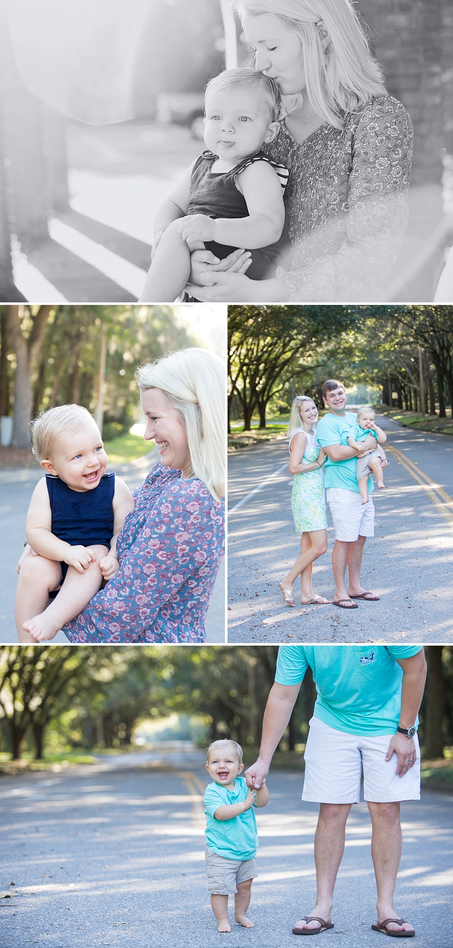 Family portraits with a one year old in Haile Plantation