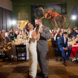 wedding couple dancing at natural history musem
