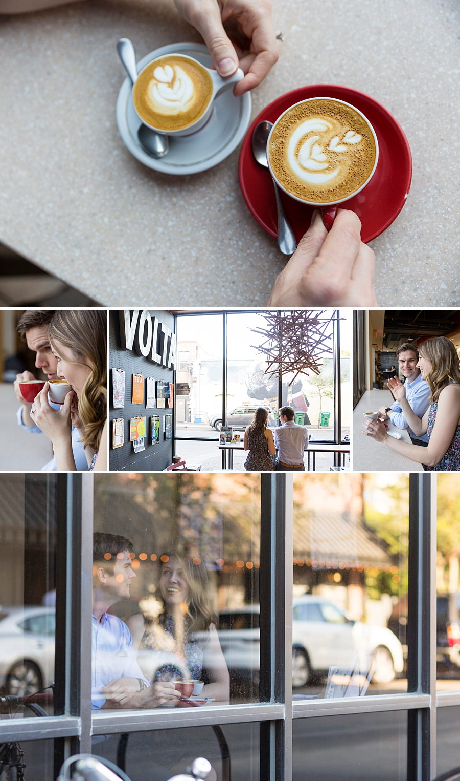 engagement session at coffee shop