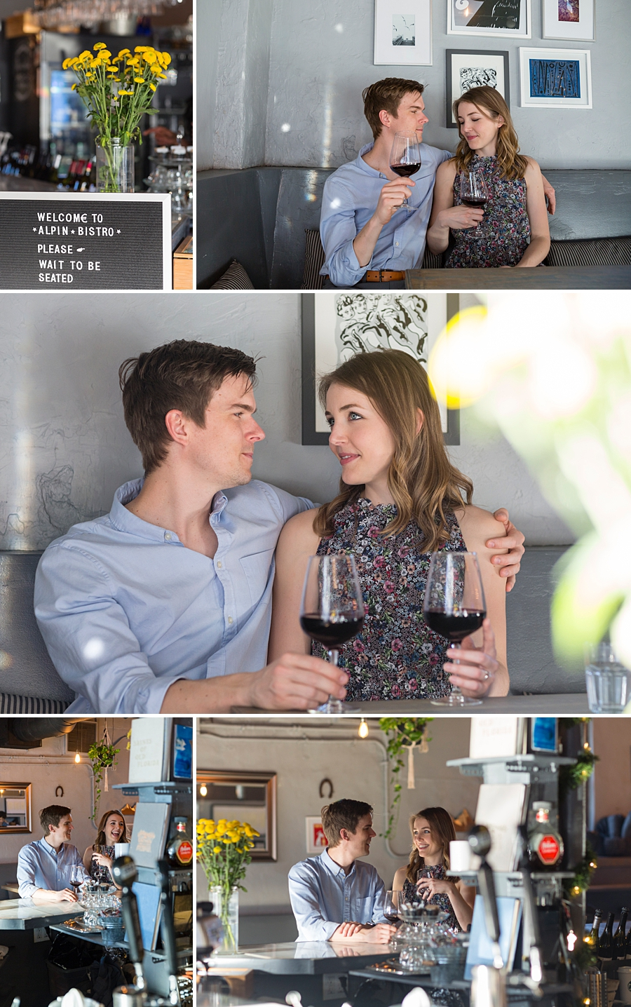 engaged couple drinking wine