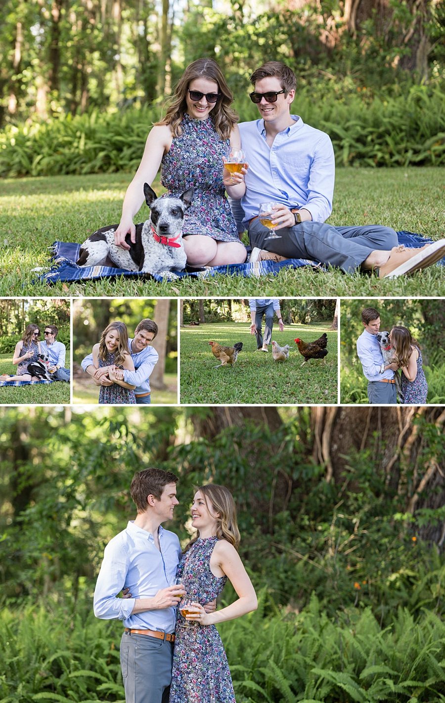 engaged couple in yard