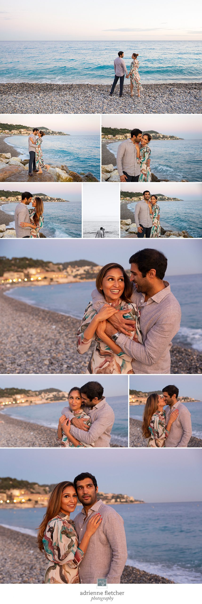 portraits of couple on beach in Nice