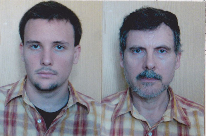 portraits of father and son wearing same shirt