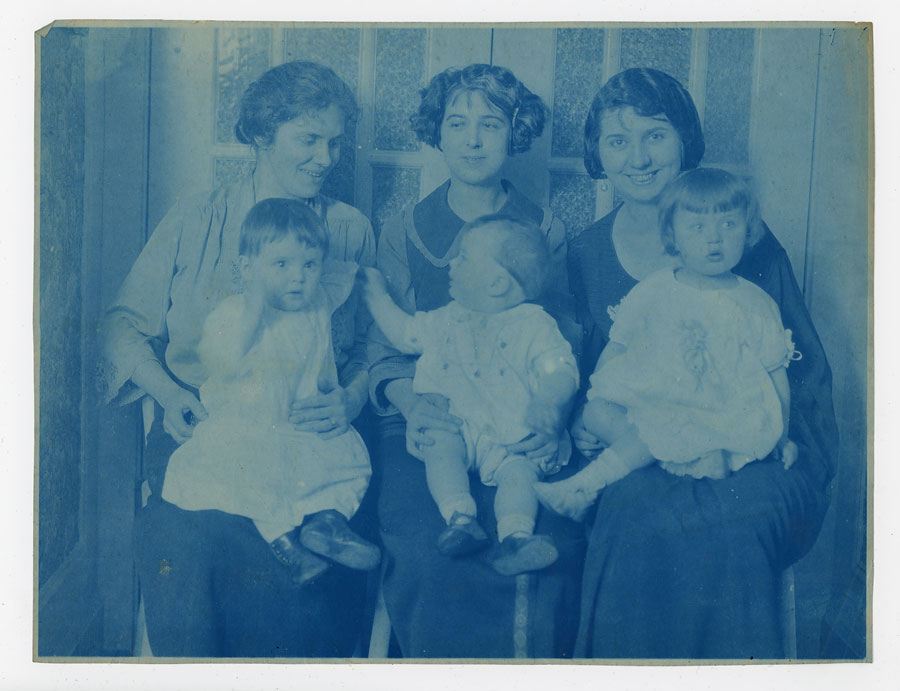 Cyanotype of my great-grandmother on the left, with my grandmother in her lap