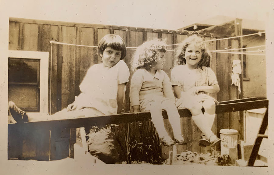My grandmother and her sisters, 1927. You can see that the print has started fading, has some surface abrasion, and looks like silvering the bottom left corner.