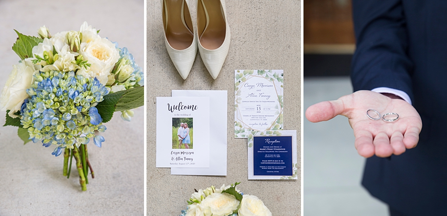 Detail shots from a small wedding, the flowers, invitations and rings.