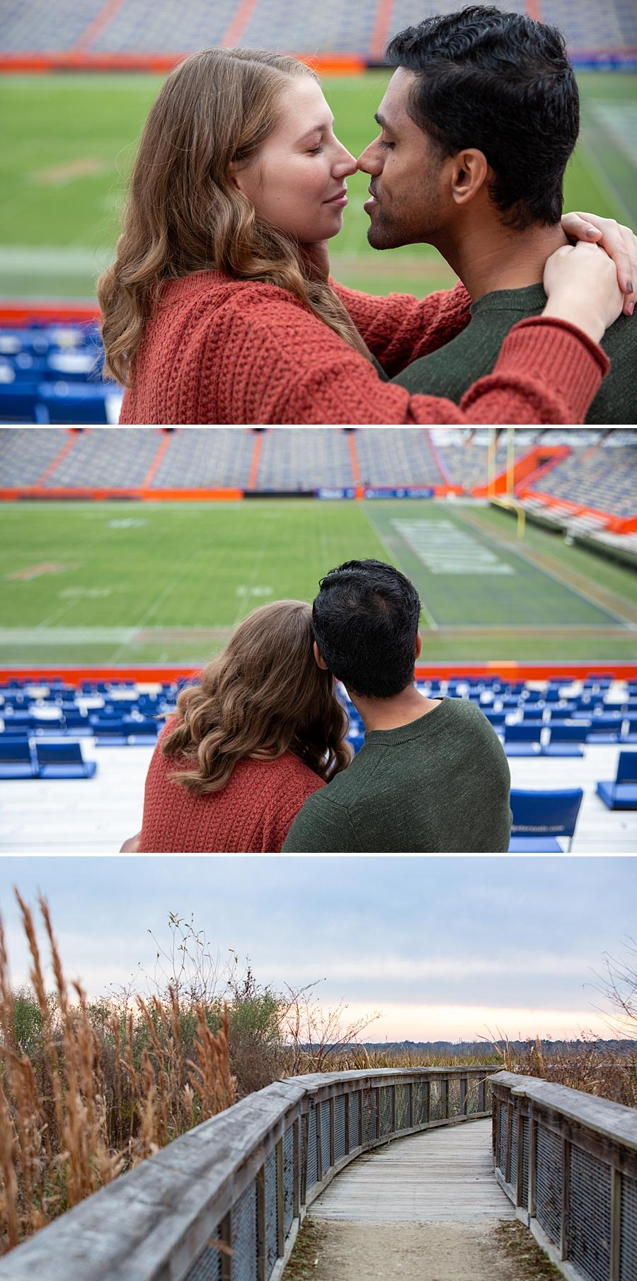 Engaged couple at UF stadium