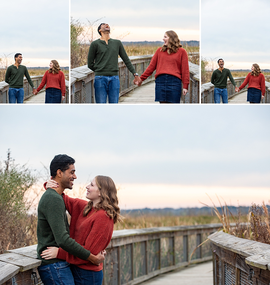 Engaged couple at sweetwater wetland preserve