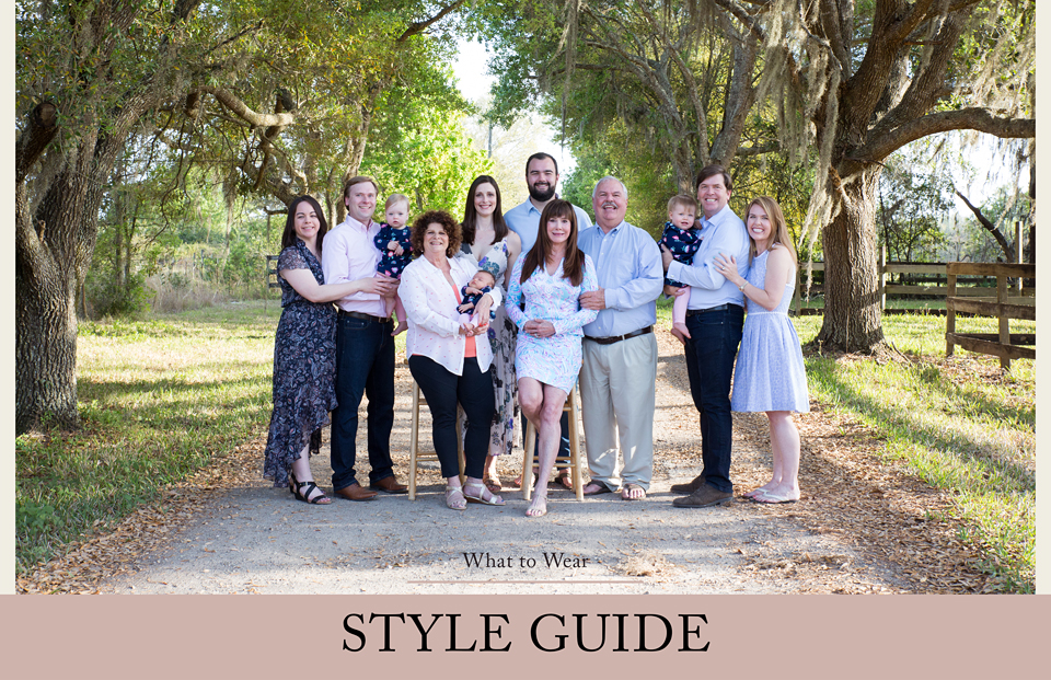 extended family portrait in coordinated clothing