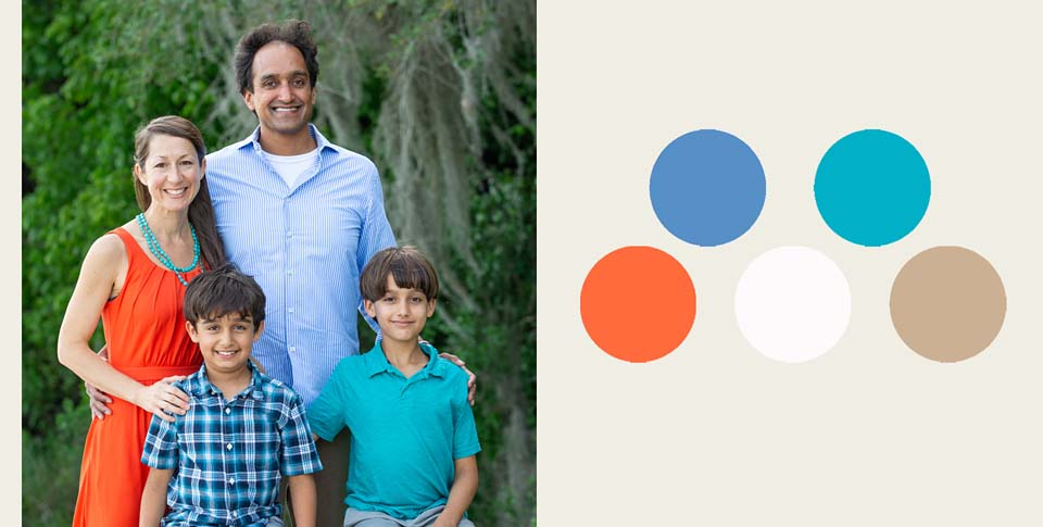 teal and coral family portrait style