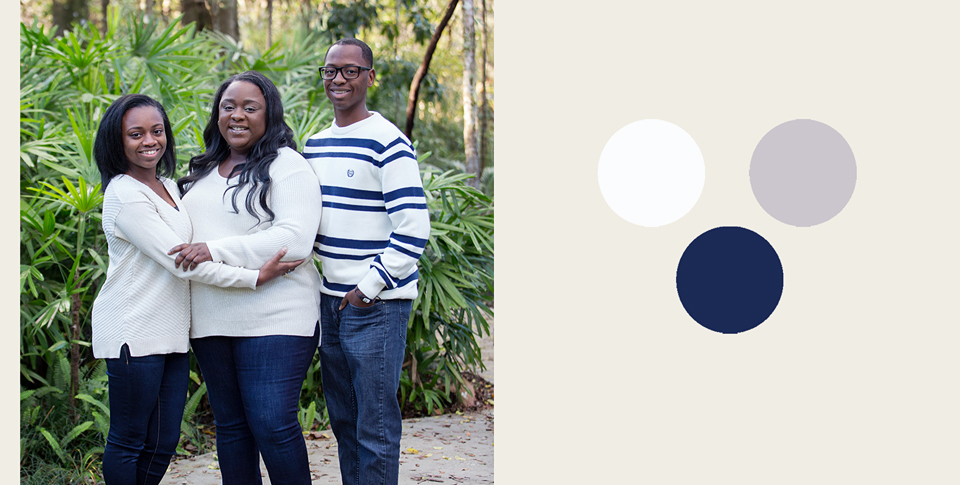 white and navy styled family portrait session