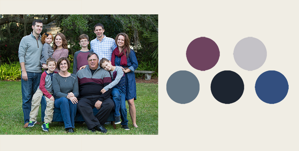 grey and berry styled family portrait session
