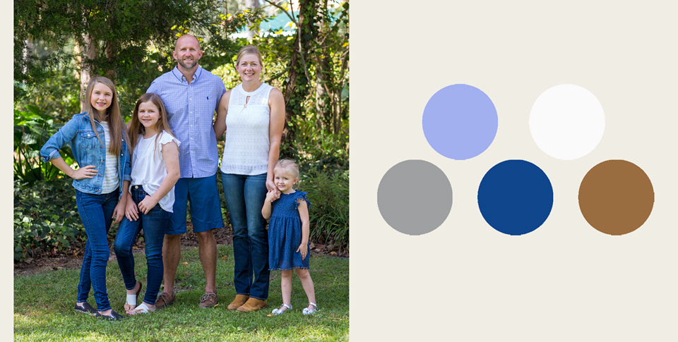 blue, white and camel color palette for family portrait