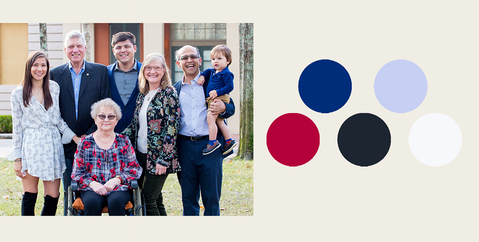 red and blue color scheme for family portrait